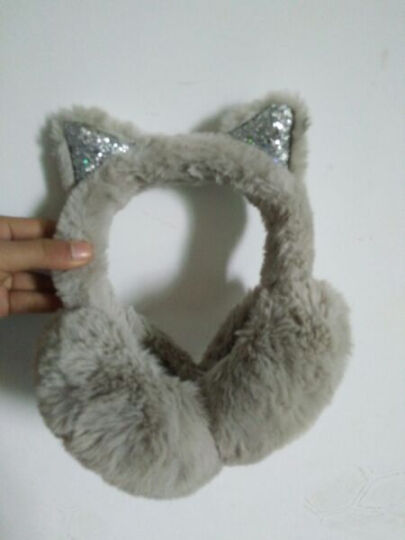 百恩思 耳包女生冬季可爱耳罩护耳耳捂子耳套保暖可折叠亮片猫耳 黑色 晒单图