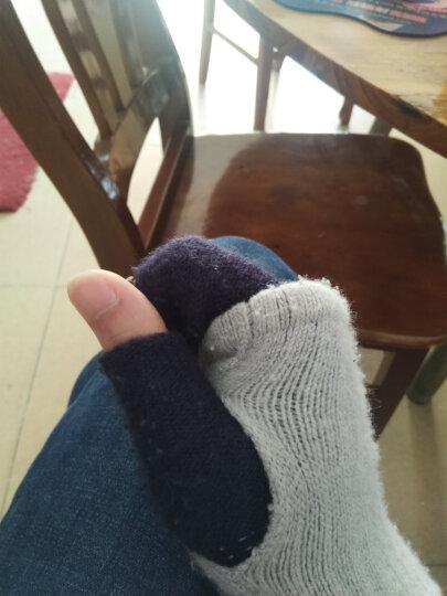 半指毛线手套男女生冬季露指手套学生针织五指漏指保暖触屏手套女冬 灰蓝色 均码 晒单图