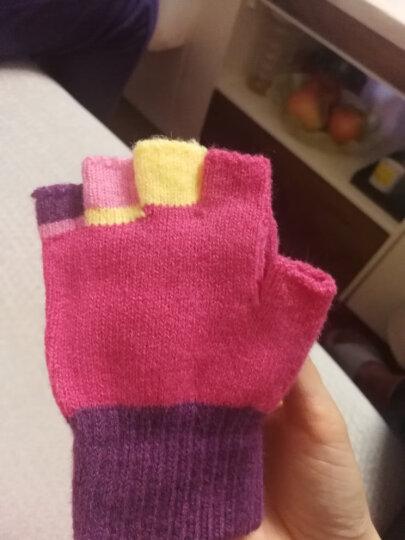 凯蒂猫(HELLO KITTY)儿童手套女童毛线针织保暖秋冬双层加厚卡通半指手套  KT-S9015B玫红 适合4-10岁 晒单图