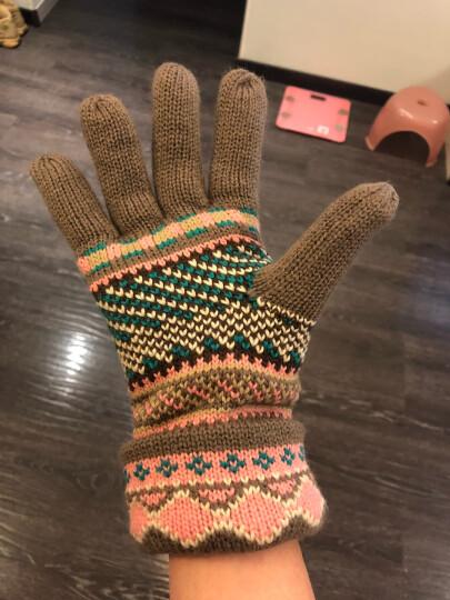 公主兔秋冬天冬季韩版毛线手套女士可爱雪花小鹿针织厚保暖分指五指手套 卡其小鹿 晒单图