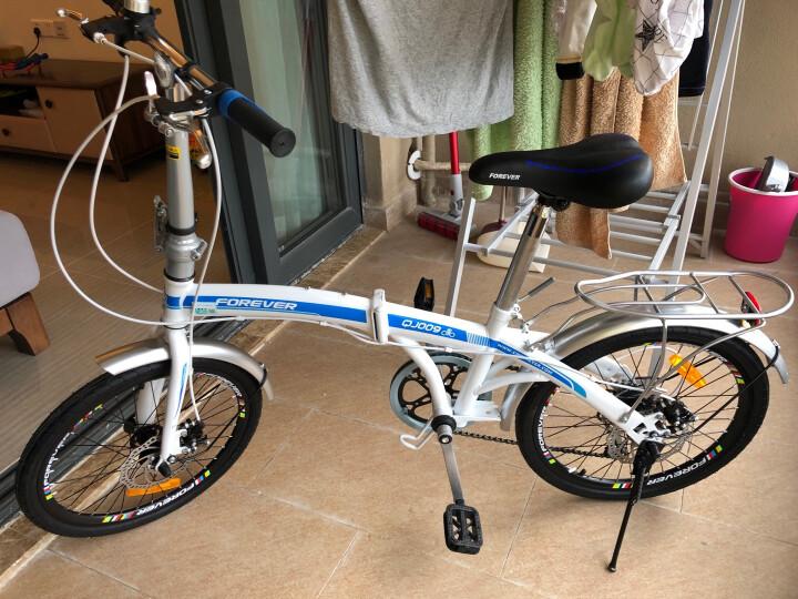 永久自行车 20寸7速高碳钢弓背车架 时尚休闲折叠车 男女式通勤车 学生变速单车 白红色 晒单图