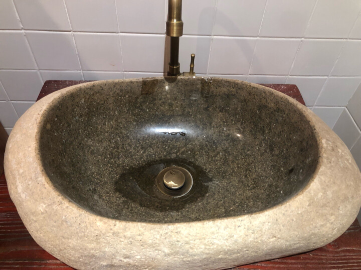 新石器石代 鹅卵石阳台卫浴艺术复古台上盆S12 石材洗手盆卫生间洗脸盆台盆 黄色鹅卵石盆(标准) 晒单图