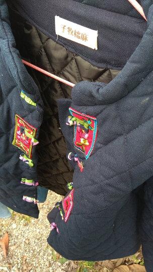 子牧棉麻冬季新款民族风中式复古上衣中式绣花盘扣棉衣短外套5137 藏青色 M 晒单图