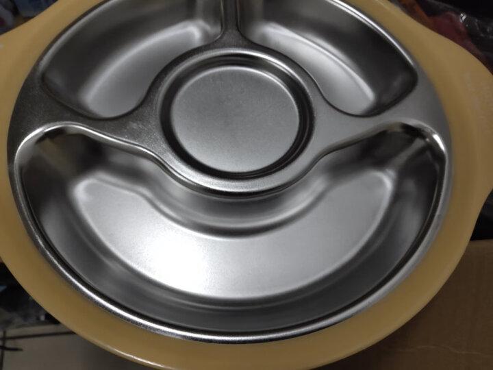 onlycook 分格餐盘304不锈钢 宝宝儿童餐具三格碗餐盘子婴儿分菜盘特惠 黄色/单个 晒单图