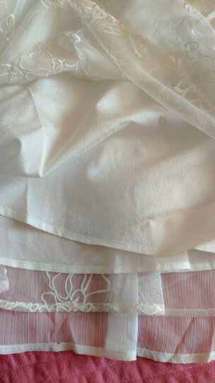 特惠: 烟花烫女装2019春夏新款时尚简约纯色绣花松紧腰A字半身裙 水色 白色 L 晒单图