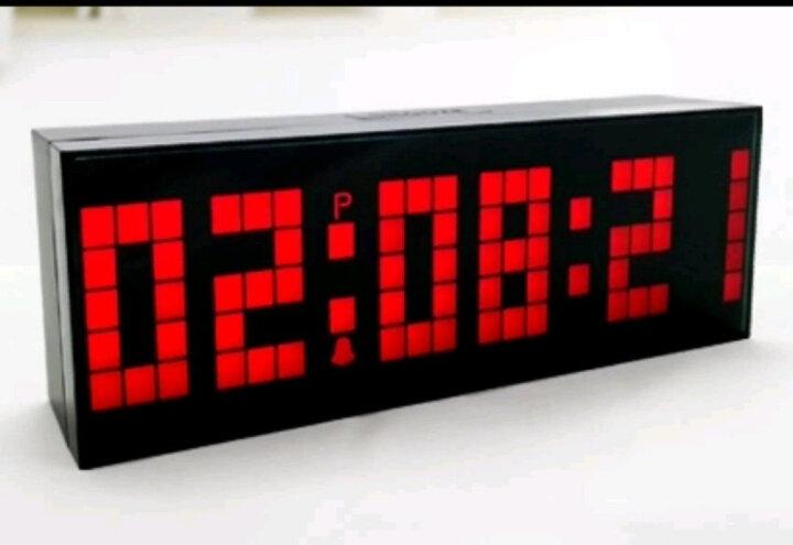 KOSDA钟表 闹钟创意静音夜光多功能电子钟 LED数字倒计时器多组闹铃座钟时钟数码万年历 仿木纹-蓝色-大摇控 6位7段 晒单图