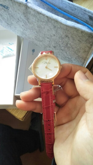 唯路时(JONAS&VERUS)贝母盘复古女士手表镶钻真皮防水时尚潮流年轻学生 镶钻贝母盘玫红 晒单图