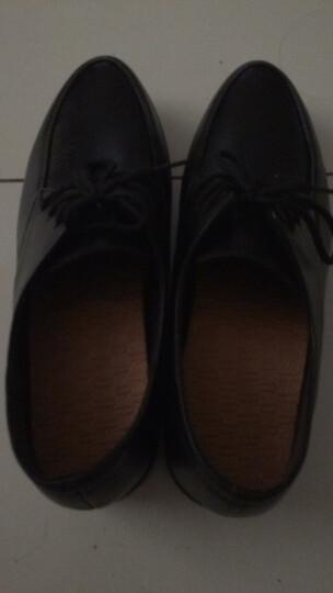 旺奈秋季妈妈鞋坡跟单鞋真皮中老年女皮鞋大码女鞋软底系带厚底大号加肥加宽深口中年妇女鞋牛皮 黑色 43 晒单图
