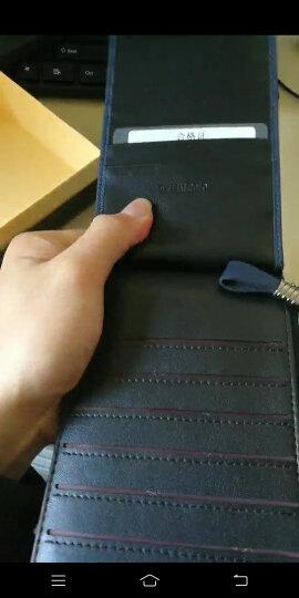 英皇保罗 防盗刷卡包男士钱包长款多卡位皮夹头层牛皮拉链卡夹大容量钱夹 蓝色十字纹 晒单图