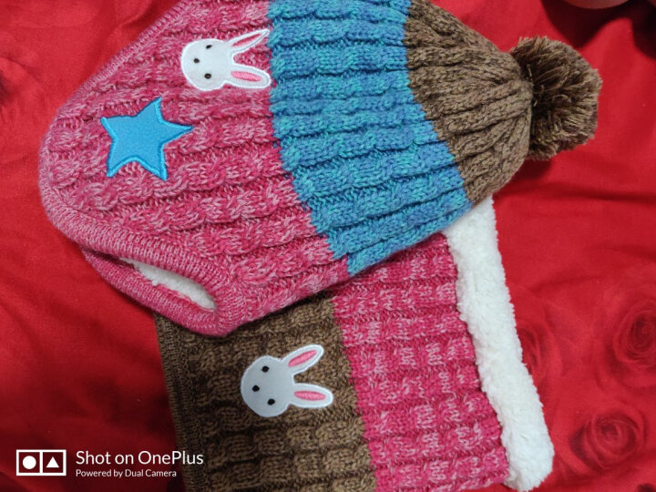 Kocotree KOCOTREE儿童帽子围巾手套三件套保暖秋冬男童女童宝宝帽子加绒套装 粉色兔头帽子+围脖+手套 建议5-12岁  适合头围52-56CM  加绒 晒单图