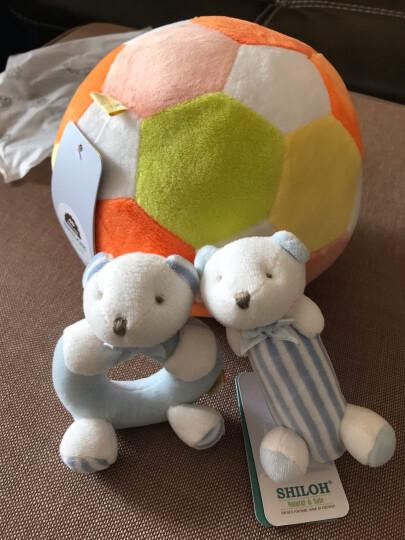 SHILOH 新生婴儿宝宝毛绒布艺摇铃床铃玩具 手抓球摇铃足球-黄桔色系 晒单图
