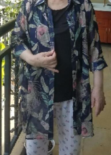 莫万丹中老年女装2018夏季新品宽松雪纺衫夏装短袖衬衫妈妈装大码上衣薄款外套风衣1633 漩涡花 5XL[适合160-175斤] 晒单图