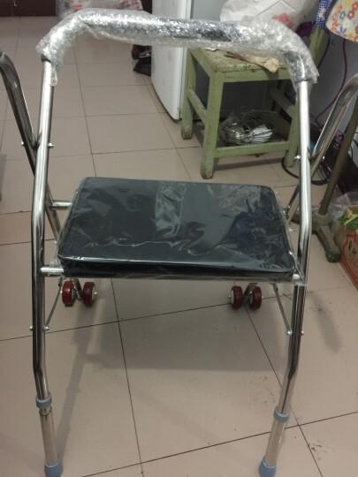 冀恒康 老人助行器 带轮 带座 老年人助步器学步车 助行架可折叠 助行器带轮带座黑色 晒单图