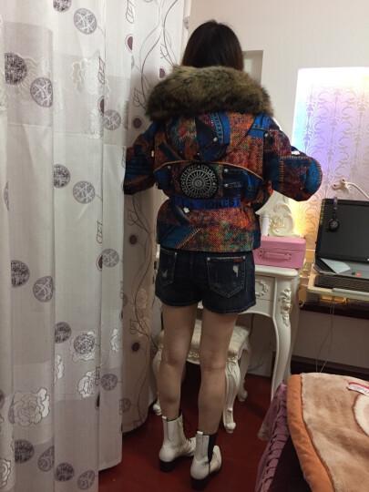 2018新款狐狸毛皮草派克服大衣带帽女装 可脱卸羽绒内胆短款外套 牛仔橙 均码 85-130斤 晒单图