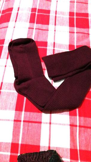 南极人袜子女士过膝袜春秋季长袜护膝袜日系甜美抽条显瘦微压长筒袜棉细竖条堆堆袜 酒红色 均码 晒单图