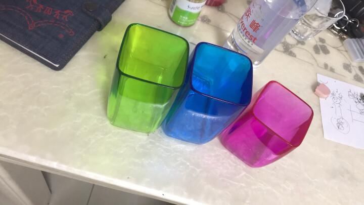 欧润哲 漱口杯 3件套塑料刷牙杯洗漱杯高透方杯学生儿童水杯子 家庭亲子套装 晒单图