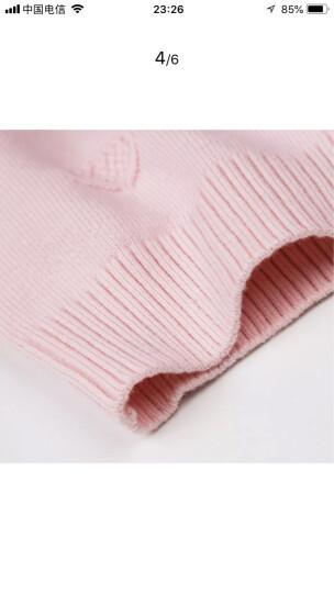 暇步士品牌童装女童线衣新款秋装女中大童高领针织衫儿童时尚套头翻领毛衣 粉艾尔 105cm 晒单图