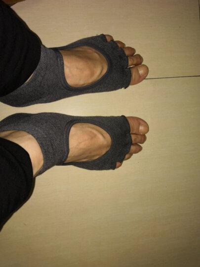 秋冬男女士专业防滑瑜伽袜子五指袜棉瑜伽手套露趾露背瑜珈袜棉 露趾瑜伽袜-深灰 晒单图