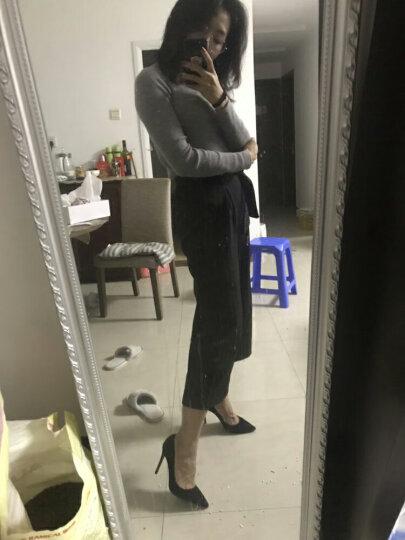 忐忑社交女鞋夏黑色真羊皮职业高跟鞋尖头细跟单鞋 杏色羊皮10cm 38 晒单图