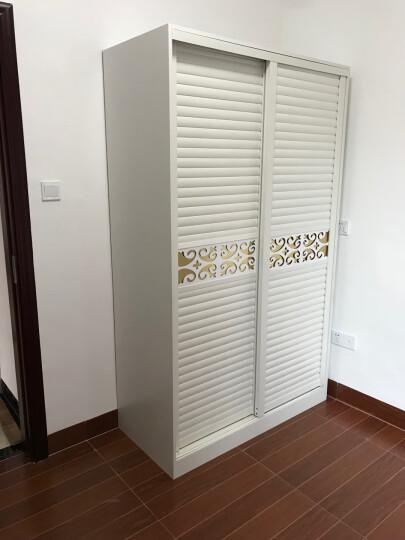 悠佳 衣柜 木 推拉门板式现代简约2门地中海移门大衣柜 柚木色 宽120CM主柜+边柜 晒单图