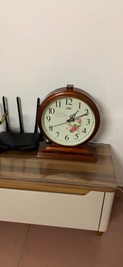 康巴丝(Compas)挂钟古典欧式座钟表复古静音客厅装饰台钟创意卧室床头时钟石英钟 3020数字木纹 晒单图