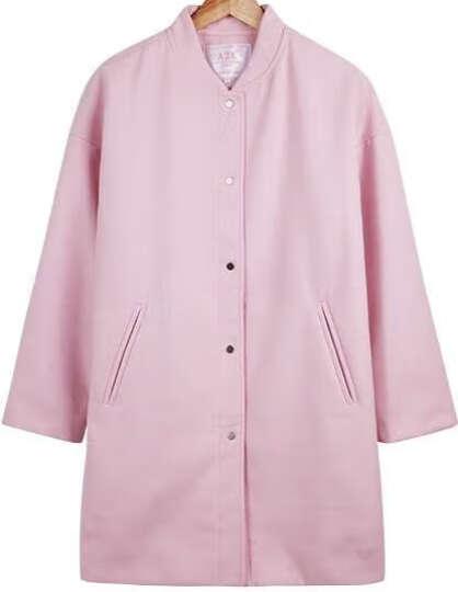 a21 2016秋装新品女装宽松毛呢大衣甜美长款毛呢外套女4632124006 粉红 XL 晒单图
