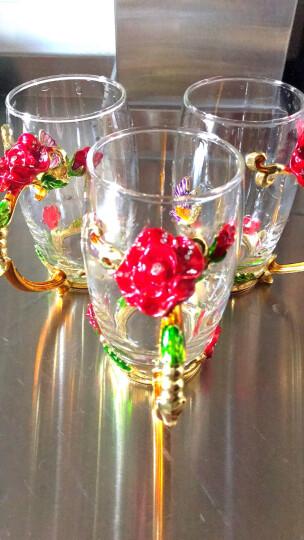 珐琅彩玻璃水杯泡茶杯子情侣实用时尚玫瑰花水晶对杯七夕情人节礼物生日礼物送女友情人老婆朋友母亲节礼品 玫瑰款高杯+珐琅勺+礼盒礼袋 晒单图