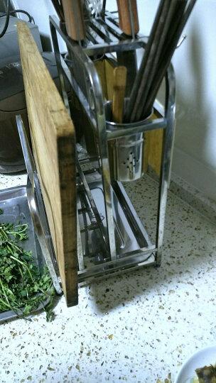 不锈钢厨房刀架刀具架菜板架砧板架 厨房置物架收纳架筷子筒 台面多功能组合餐具架套装座架 锅铲架 D023A 晒单图