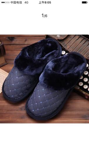 冬季男士大码棉拖鞋保暖居家厚底45 46 47 48加肥加大号冬天室内 高帮-藏青色 鞋底320码(适合47-48码) 晒单图