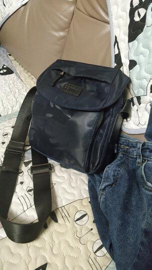 智纳(ZZINNA)男包单肩包休闲斜跨包潮流帆布小背包竖款防水牛津布包 黑色(小号) 晒单图