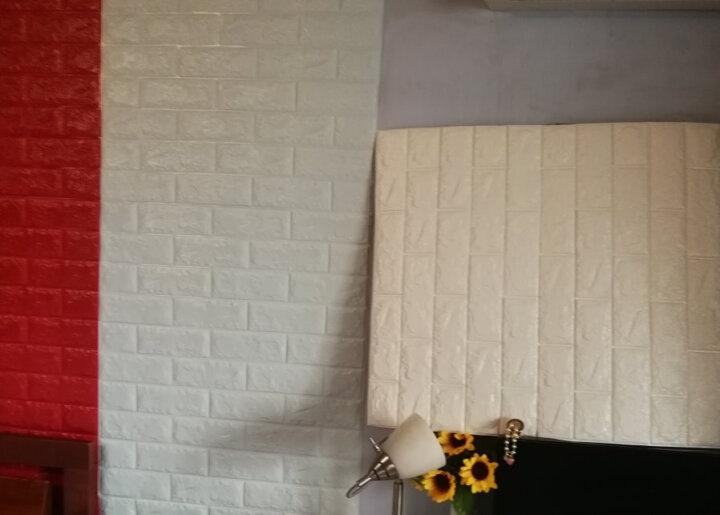 梓晨 壁纸3d立体墙贴创意电视背景墙客厅墙纸自粘贴画卧室装饰防水 珍珠白【单片装】 大号(70*77cm) 晒单图