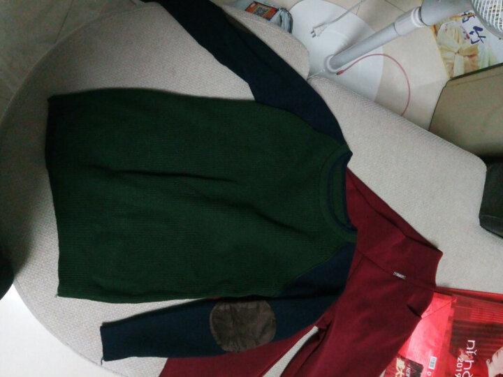 熙黎 2018春秋针织衫女套头毛衣宽松长袖女士外套拼色百搭韩版女装打底衫加厚Z18 军绿色低领 XL 晒单图