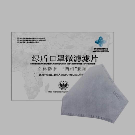 绿盾 抗菌防颗粒物口罩 微滤滤片成人4片装(适合L/M/F)码口罩 晒单图