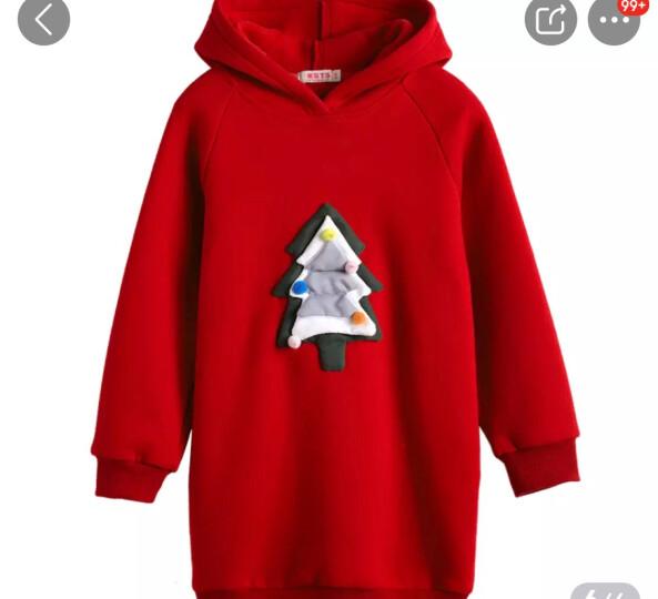 米奇丁当女童圣诞节休闲连帽卫衣新品冬装立体卡通运动长款抓绒卫衣 粉色 130 晒单图