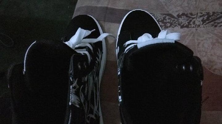 (低帮款99元二双)秋冬季男鞋时尚休闲鞋男款韩版高帮加绒保暖简约潮流乐福鞋平板鞋青少年学生帆布鞋子 (低帮一双))黑白 42 晒单图