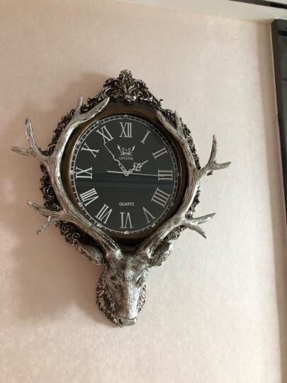 英伦欧堡 欧式客厅复古静音石英钟表鹿头创意挂钟 棕色 晒单图