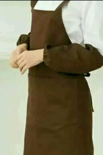 格苒杰 韩版时尚围裙纯棉厨房做饭超市美甲奶茶咖啡店美容院工作服防水定制LOGO印字围腰 咖啡色加长款 均码 晒单图