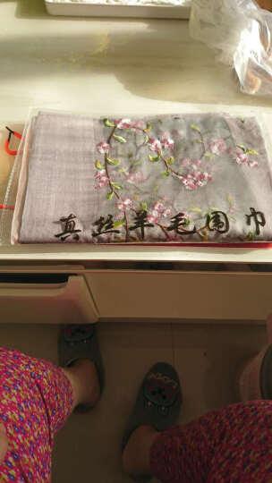 上海故事春秋新款真丝围巾女士桑蚕丝拼色花朵丝巾女刺绣绣花长款披肩女送礼盒装 灰绿+米白 190cm 晒单图