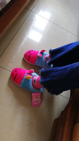 流氓兔宝宝棉拖鞋  秋冬季女款儿童棉鞋拖鞋 亲子款居家卡通保暖棉鞋MM904 紫色 22/23CM 晒单图
