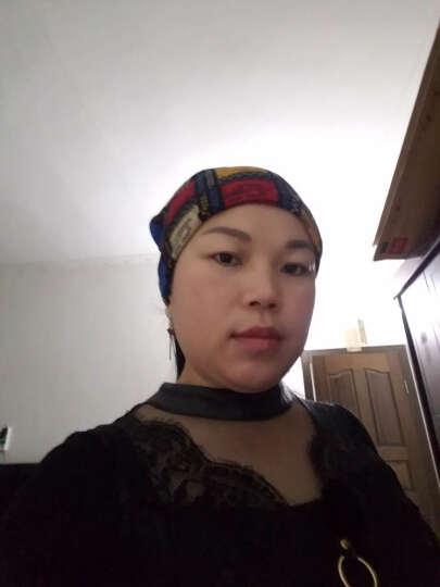 一口米ins 韩国欧美复古甜美百搭帽子发带宽边发箍洗脸包头巾头套发套头饰女 大格子宝蓝 晒单图