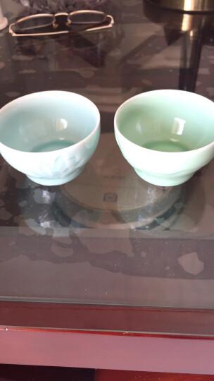 豪艺茗杰茶杯陶瓷 龙泉青瓷影雕单杯主人杯梅兰竹菊功夫茶杯山水鱼儿普洱品茗杯 荷花梅子青 晒单图