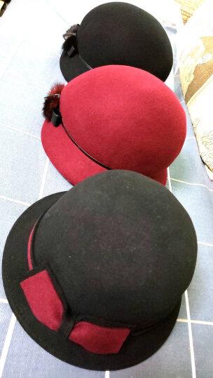 布塔帽子女冬韩版礼帽女羊毛呢帽女蝴蝶结潮大檐定型盆帽 锈红 可调节大小 晒单图