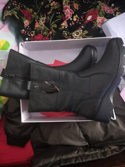 宝思特新款女靴真皮妈妈鞋 中老年坡跟厚底保暖舒适短靴女鞋中筒马丁靴加绒女鞋 黑色厚棉 38 晒单图