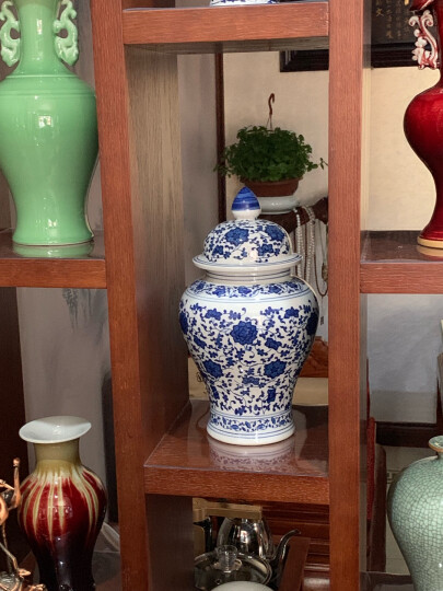 景德镇陶瓷花瓶摆件青花瓷仿古青花将军罐盖罐瓷器花器家居摆件 青花仿古将军罐 中号 晒单图