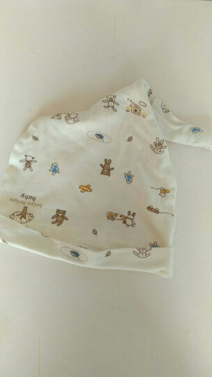 贝谷贝谷 婴儿帽子纯棉新生儿胎帽四季款 L码 头围40cm(米色小熊) 晒单图