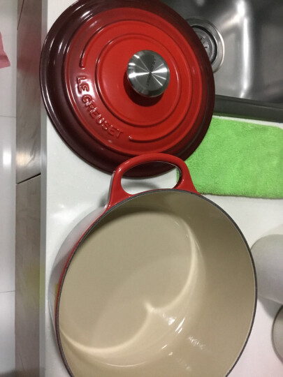 LE CRUSET 法国进口 酷彩锅 珐琅铸铁锅 圆形炖锅汤锅 多色可选 墨色 28CM 晒单图