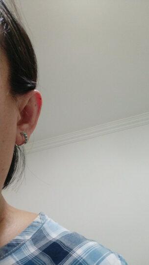 大唐滴翠 925银镶嵌冰油青蛋面翡翠耳钉耳环 时尚经典复古风银耳饰配送证书 晒单图