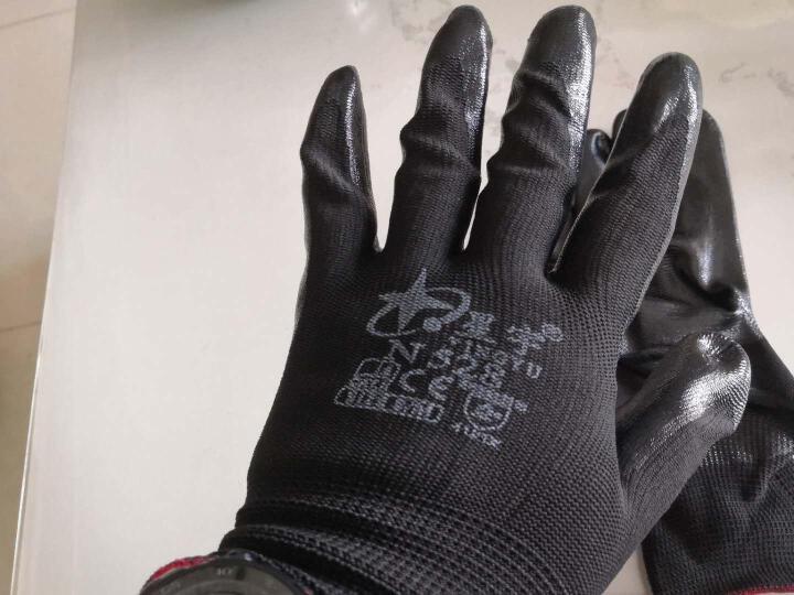 星宇(XINGYU) 劳保手套N528 丁晴涂胶耐磨防滑耐酸碱机械防油防水透气工地手套 N528黑丁黑12副 M码 晒单图