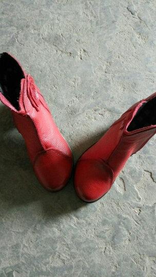 金美若短靴女2019秋冬新款女鞋民族风复古手工花朵真皮妈妈鞋头层牛皮女单靴中跟软底短筒马丁靴及踝靴女 灰色二棉里 38 晒单图