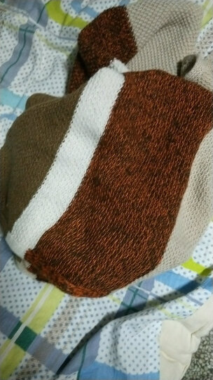 2017新款韩版潮百搭男士围巾女针织毛线保暖超长款 橘棕色 晒单图